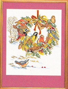 click here to view larger image of Birds and Fall Wreath (counted cross stitch kit)