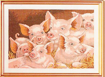 click here to view larger image of Pigs (counted cross stitch kit)