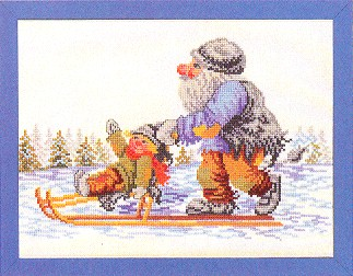 click here to view larger image of Gnome On Sled (counted cross stitch kit)