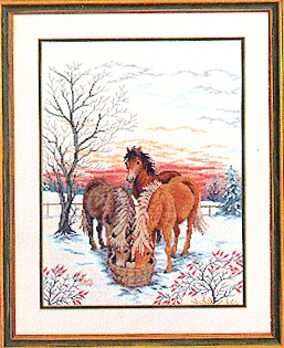 click here to view larger image of Horses Drinking Water (counted cross stitch kit)