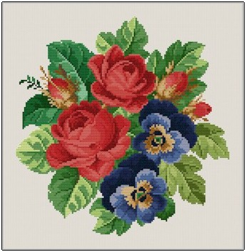 click here to view larger image of Roses & Pansies (chart)