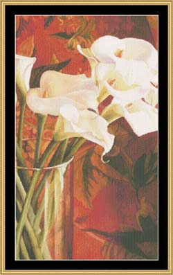 click here to view larger image of White Lilies on Red (chart)