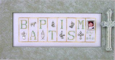 click here to view larger image of Baptism - Mini Blocks (chart with charms/buttons)