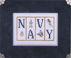 click here to view larger image of Navy - Mini Blocks (chart with charms/buttons)
