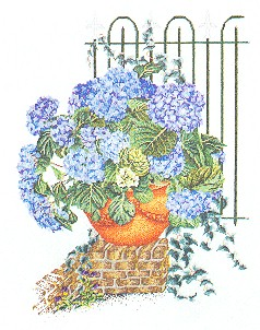 click here to view larger image of Blue Hydrangea Flowers (counted cross stitch kit)