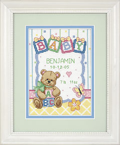 click here to view larger image of Baby  Blocks  Birth Record (counted cross stitch kit)