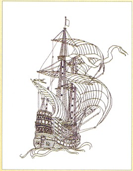 click here to view larger image of Ship Sketching (counted cross stitch kit)