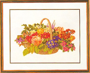 click here to view larger image of Basket Of Flowers (counted cross stitch kit)