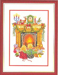 click here to view larger image of Children In Front Of Fireplace (counted cross stitch kit)