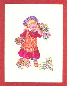 click here to view larger image of Girl With Puppy (counted cross stitch kit)