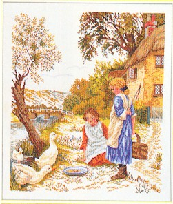 click here to view larger image of Girls Feeding Ducks (counted cross stitch kit)