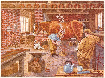 click here to view larger image of Horse Shoeing Scene (counted cross stitch kit)