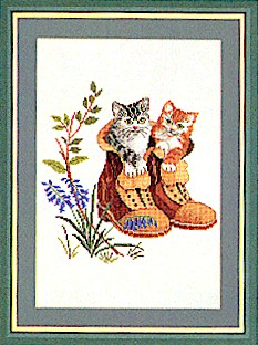 click here to view larger image of Kittens In Boots (counted cross stitch kit)
