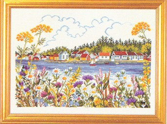 click here to view larger image of Lake Homes (counted cross stitch kit)