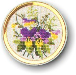 click here to view larger image of Pansy Handbag Mirror (counted cross stitch kit)