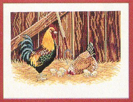 click here to view larger image of Rooster & Chickens (counted cross stitch kit)