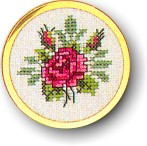click here to view larger image of Rose Handbag Mirror (counted cross stitch kit)