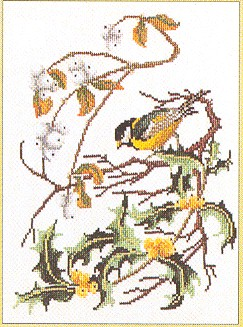 click here to view larger image of Bird With Branch-chickadee (counted cross stitch kit)