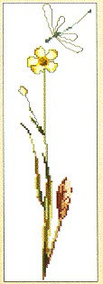 click here to view larger image of Butter Flower With Dragonfly (counted cross stitch kit)