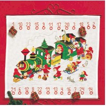 click here to view larger image of Advent Calendar - Santa's Train (counted cross stitch kit)