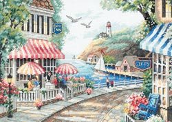 click here to view larger image of Cafe By The Sea (counted cross stitch kit)