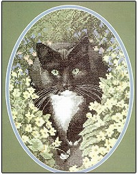 click here to view larger image of Black & White Cat  (counted cross stitch kit)