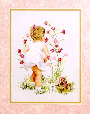 click here to view larger image of Girl with Cosmos (counted cross stitch kit)