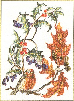 click here to view larger image of Bird With Branch-robin - Aida (counted cross stitch kit)