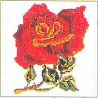 click here to view larger image of Single Red Rose - Aida (counted cross stitch kit)