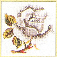 click here to view larger image of Single White Rose - Aida (counted cross stitch kit)