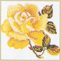 click here to view larger image of Single Yellow Rose - Aida (counted cross stitch kit)