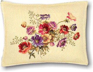 click here to view larger image of Floral Pillow (counted cross stitch kit)