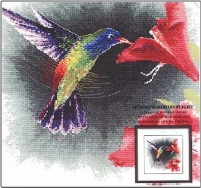 click here to view larger image of Hummingbird In Flight  (counted cross stitch kit)