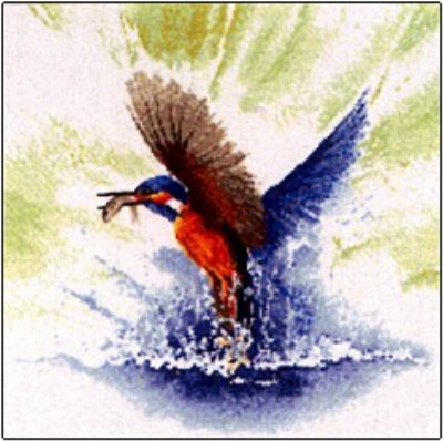 click here to view larger image of Kingfisher In Flight   (counted cross stitch kit)