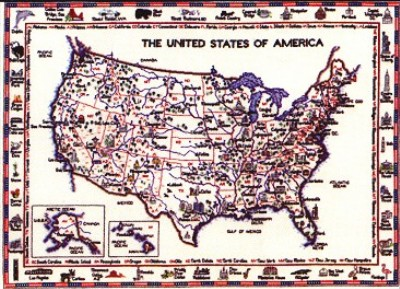 click here to view larger image of United States Of America Map  (counted cross stitch kit)
