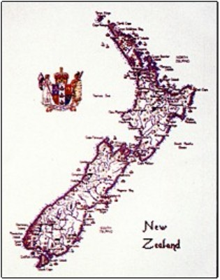 click here to view larger image of New Zealand Map - Britain in Stitches - World Stitches (chart only) (chart)