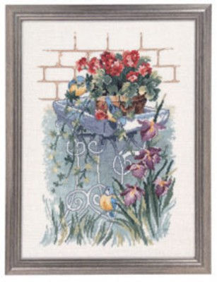 click here to view larger image of Blue Titmouse/Garden (counted cross stitch kit)
