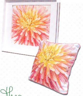 click here to view larger image of Dahlia Pillow (counted cross stitch kit)