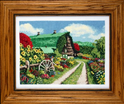 click here to view larger image of Barn Floral (counted cross stitch kit)