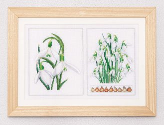 click here to view larger image of White Flowers (Snowdrops) - Linen (counted cross stitch kit)