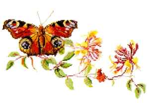 click here to view larger image of Butterfly on Floral Branch (counted cross stitch kit)