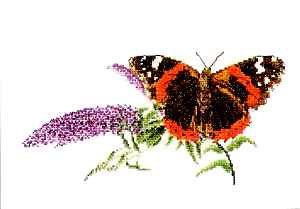 click here to view larger image of Butterfly and Flowers (counted cross stitch kit)