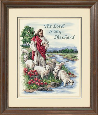 click here to view larger image of Lord is My Shepherd, The (stamped cross stitch kit)