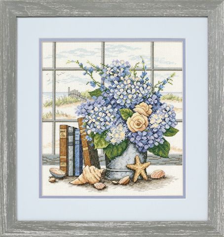 click here to view larger image of Hydrangeas and Shells (counted cross stitch kit)
