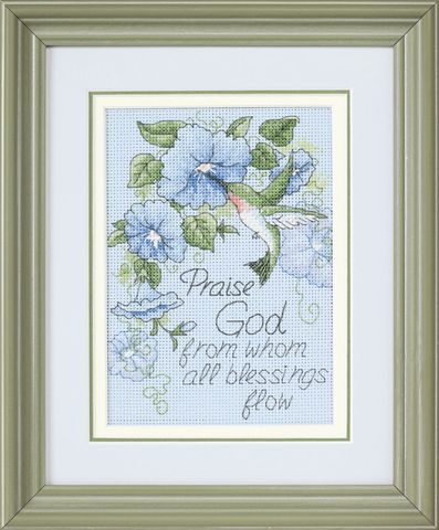 click here to view larger image of Hummingbird and Morning Glories (counted cross stitch kit)