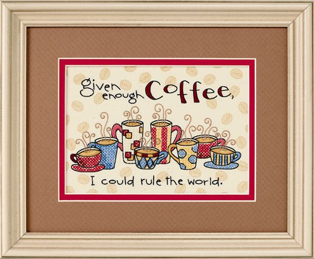 click here to view larger image of Enough Coffee (stamped cross stitch kit)