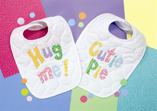 click here to view larger image of Cutie Patootie Bib Pair (stamped cross stitch kit)