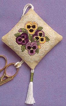 click here to view larger image of Victorian Pansies Scissor Keep (counted cross stitch kit)