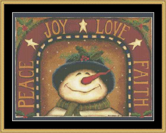 click here to view larger image of Joy Love Faith Snowman (chart)