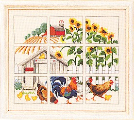 click here to view larger image of Chicken & Sunflowers (counted cross stitch kit)